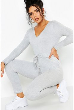 Womens Grey Athleisure V Neck Jumpsuit