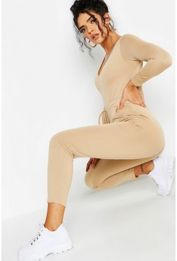 Womens Camel Athleisure V Neck Jumpsuit