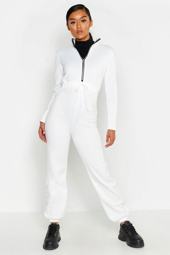 Womens Cream Zip Up Elastic Waist Jogger Jumpsuit