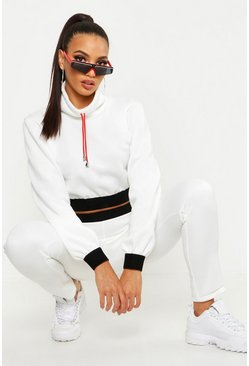 Womens White Funnel Neck Cord Crop Sweat & Jogger Tracksuit
