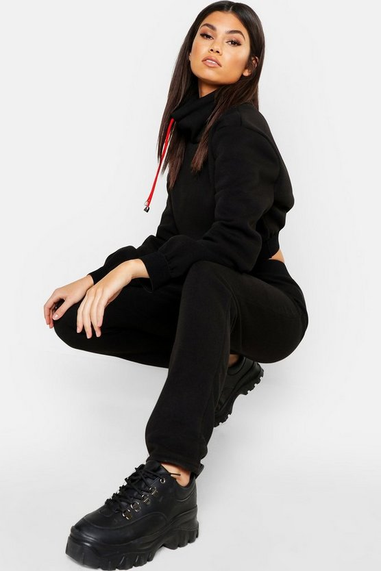Womens Black Funnel Neck Cord Crop Sweat & Jogger Tracksuit