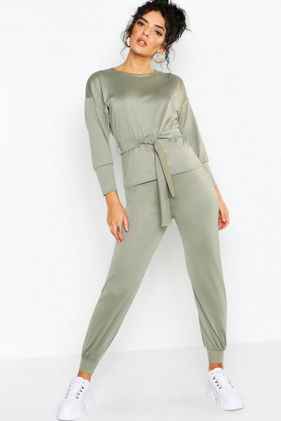 Womens Khaki Belted Sweat & Jogger Tracksuit