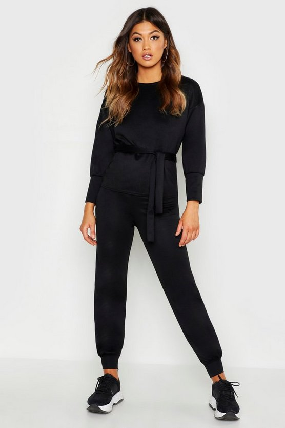 Womens Black Belted Sweat & Jogger Tracksuit
