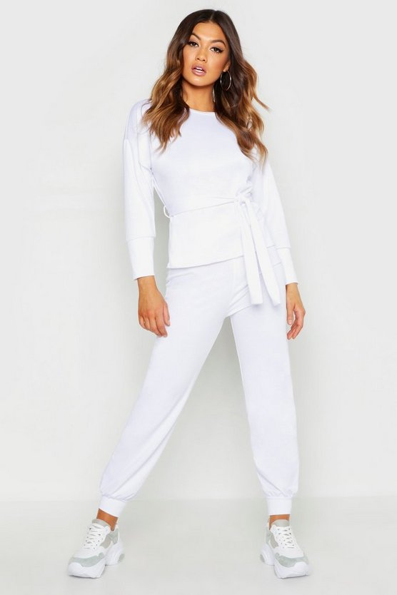 Womens White Belted Sweat & Jogger Tracksuit