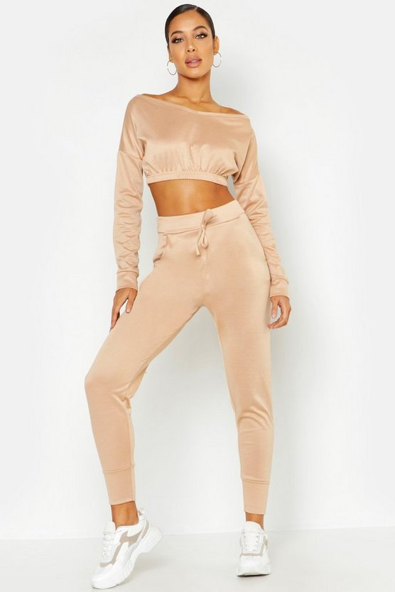 Womens Camel Off The Shoulder Tracksuit Set