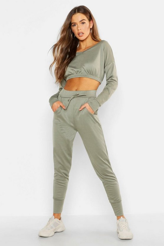 Womens Khaki Off The Shoulder Tracksuit Set