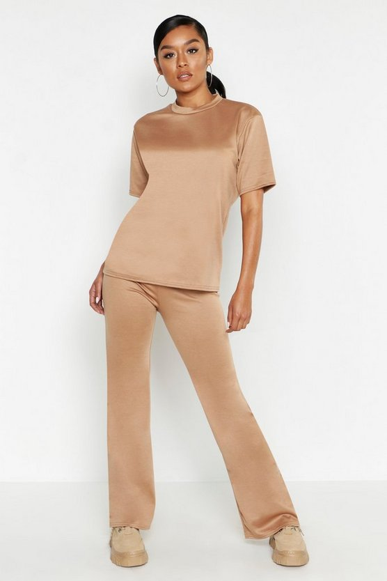 Camel Short Sleeved Oversized Top & Wide Leg Tracksuit