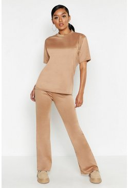 Womens Camel Short Sleeved Oversized Top & Wide Leg Tracksuit