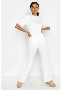 Womens Cream Short Sleeve Oversized Top & Wide Leg Tracksuit