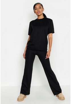 Womens Black Short Sleeved Oversized Top & Wide Leg Tracksuit