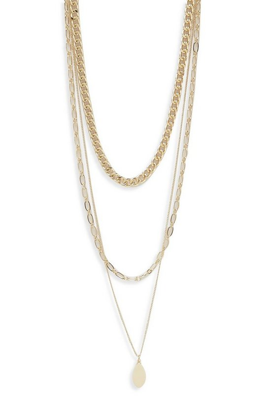 Womens Gold Triple Layered Necklace With Choker