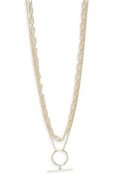 Womens Gold Double Layered O-Ring Necklace