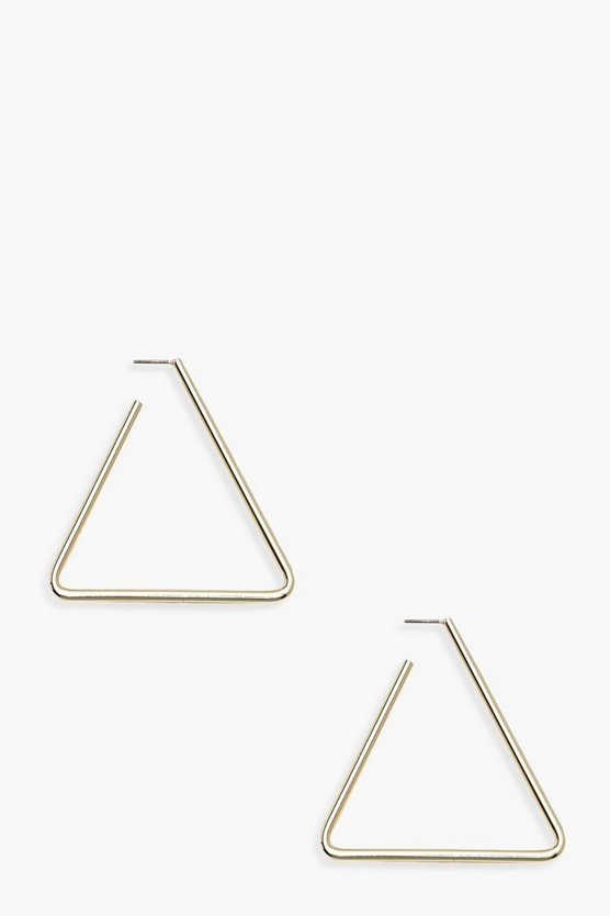 Womens Gold Triangle Hoop Earrings