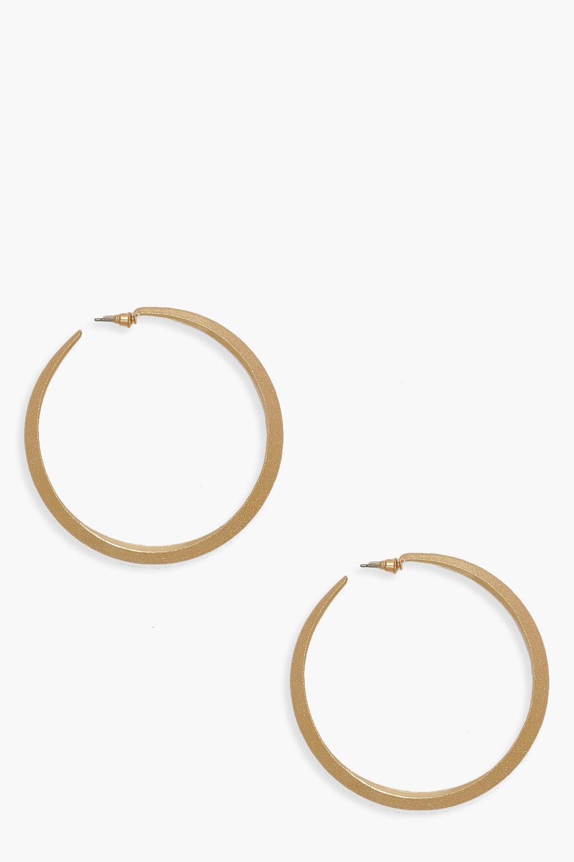7.5cm Textured Hoop Earrings