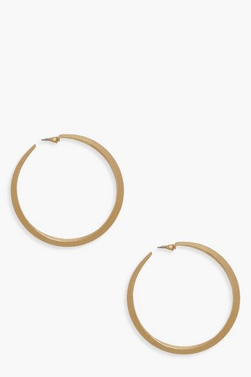 Womens 7.5cm Textured Hoop Earrings