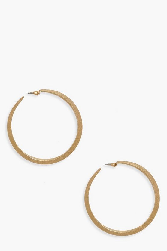 Womens Gold 7.5cm Textured Hoop Earrings