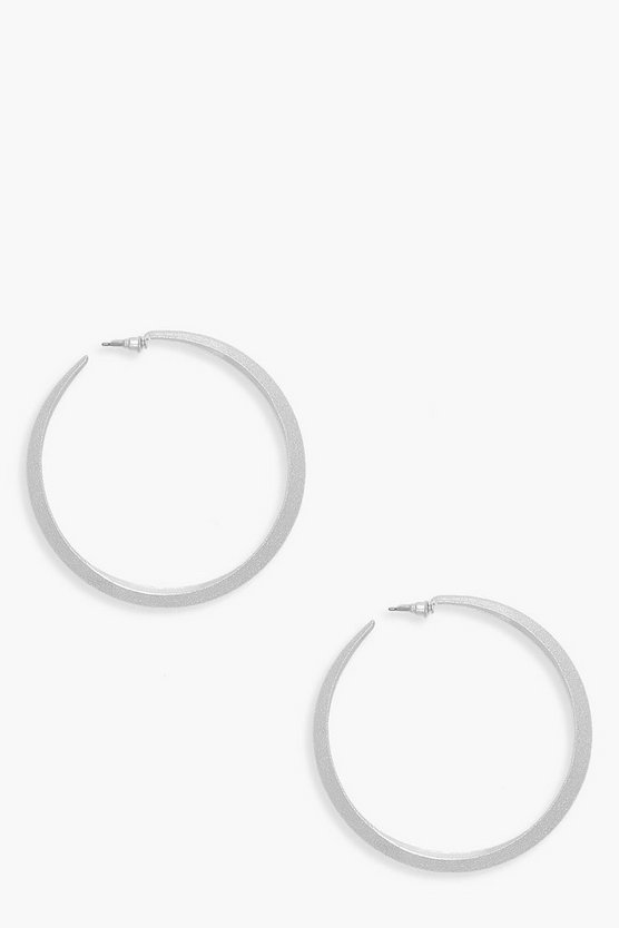 7.5cm Textured Hoop Earrings
