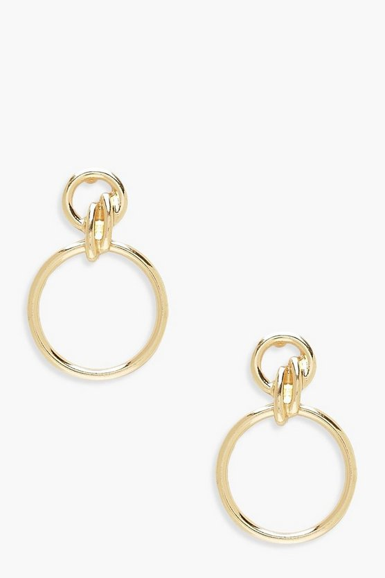 Womens Gold Double Circle Linked Earrings