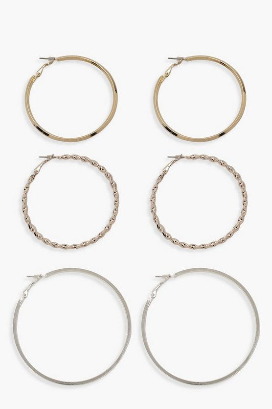 Womens Multi Mixed Metal And Size Hoop Pack