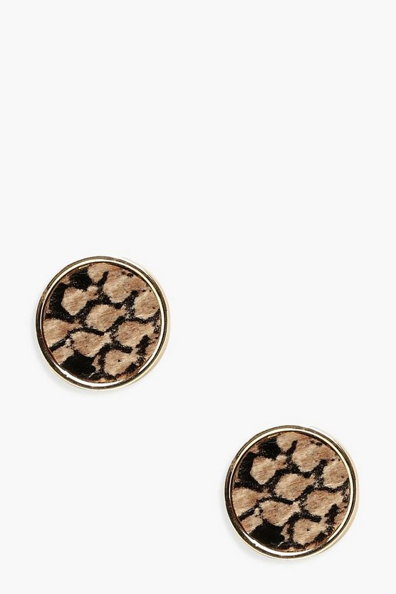 Womens Natural Snake Circle Stud Earrings