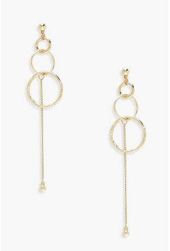 Womens Gold Circle And Chain Drop Earrings