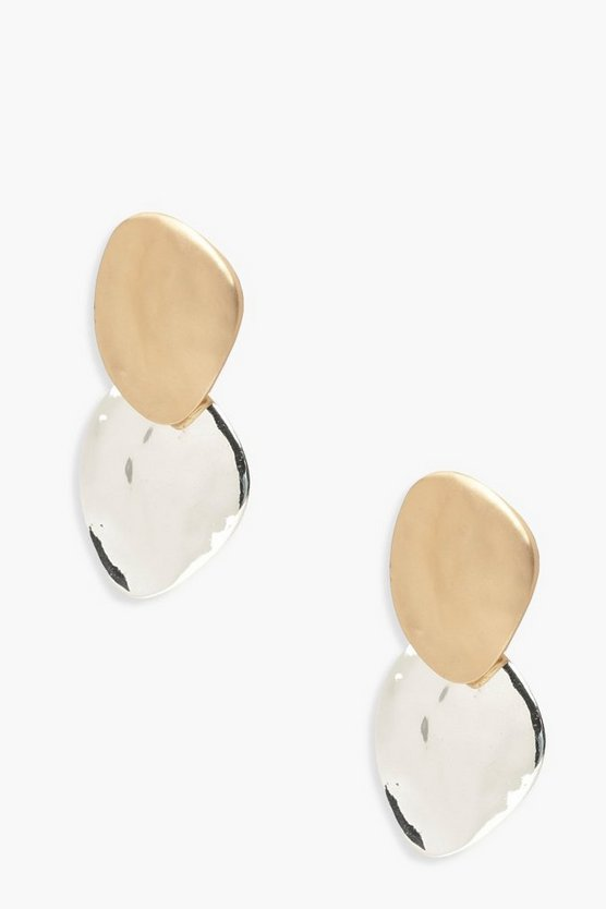Contrast Metal Hammered Earrings