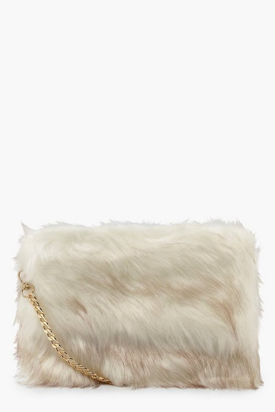 Womens Cream Faux Fur Cross Body Bag