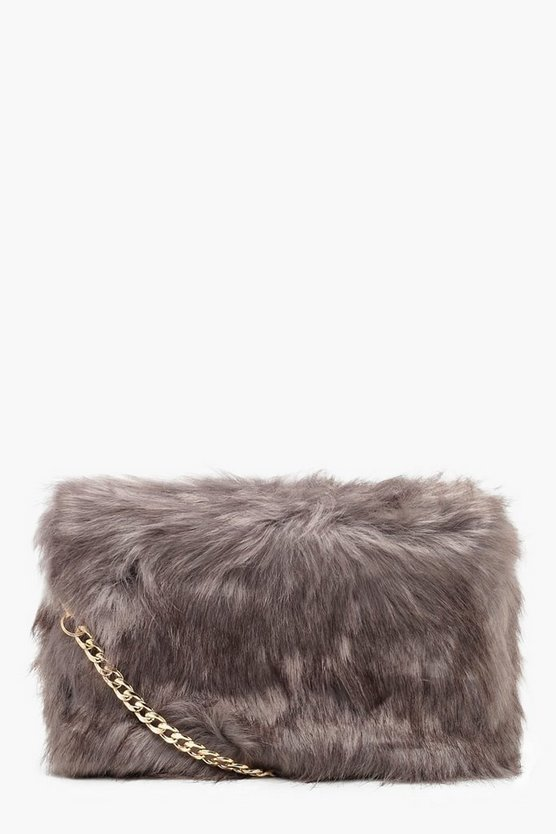 Womens Grey Faux Fur Cross Body Bag