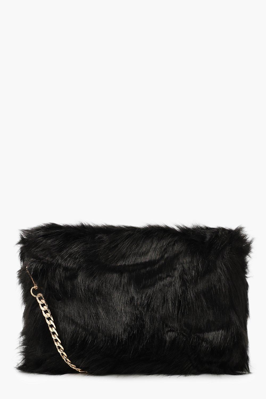 Foldover Faux Fur Cross Body Bag