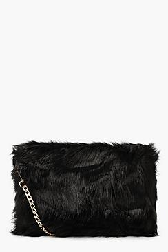 Foldover Faux Fur Cross Body Bag