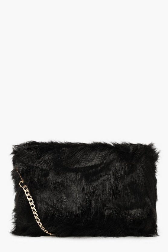 Womens Black Foldover Faux Fur Cross Body Bag