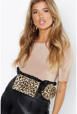 Womens Natural Leopard Utility Belt Bag