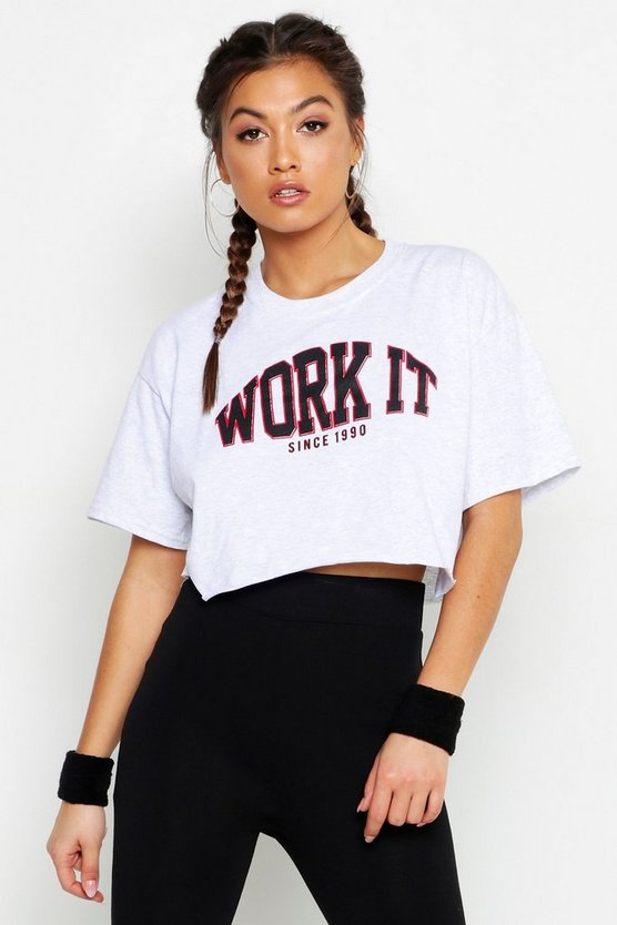 Fit Work It Cropped Gym Tee