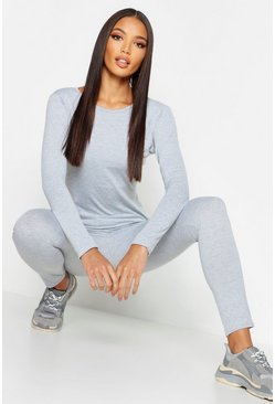 Womens Silver Fit Basic Long Sleeved Gym Top