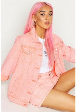 Womens Peach Acid Wash Oversized Denim Jacket