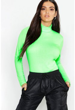 Womens Neon-lime Roll Neck Rib Knit Top