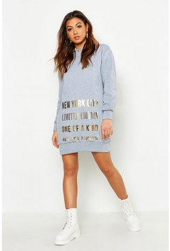 Womens Grey New York Foil Print Roll Neck Sweatshirt Dress