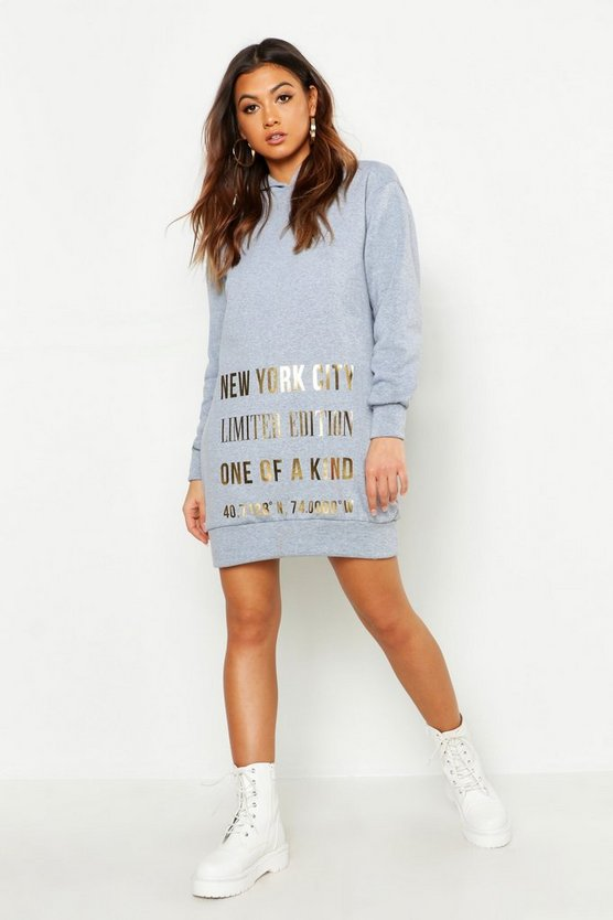 New York Foil Print Roll Neck Sweatshirt Dress