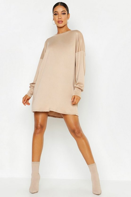 Womens Camel Balloon Sleeve Sweatshirt Dress