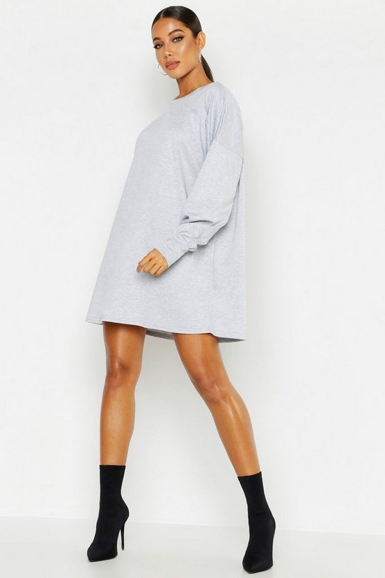 Womens Grey Balloon Sleeve Sweatshirt Dress