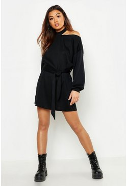 Womens Black Cut Out Neckline Belted Sweatshirt Dress