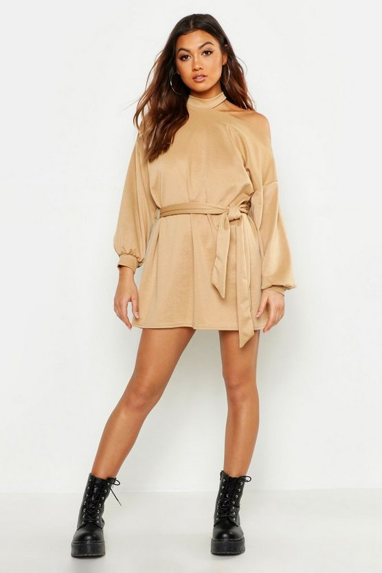 Cut Out Neckline Belted Sweatshirt Dress