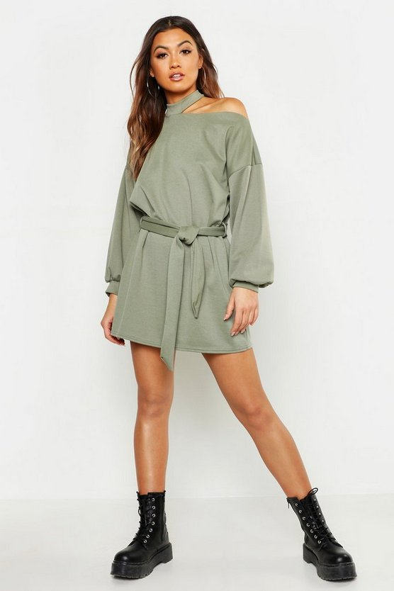Womens Khaki Cut Out Neckline Belted Sweatshirt Dress