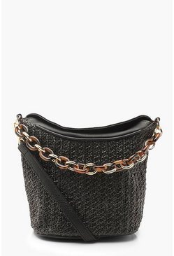 Womens Black Chunky Resin Chain Straw Cross Body Bag