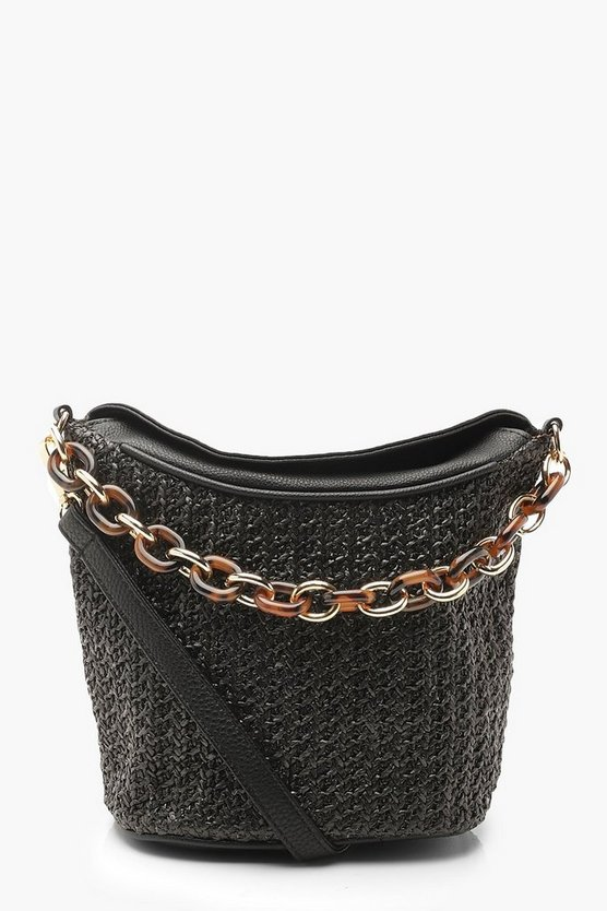 Womens Black Chunky Resin Chain Straw Cross Body