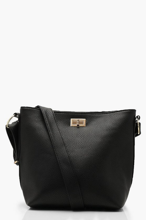 Womens Black PU Bucket Cross Body With Lock