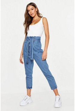 Womens Mid blue High Rise Paper Bag Waist Tapered Mom Jean