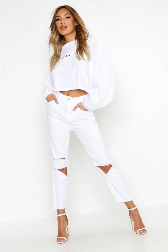 White High Rise Ripped Denim Straight Leg Jean