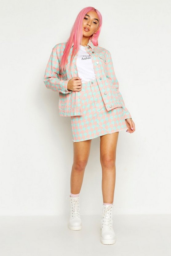 Womens Pink Dogtooth Denim Trucker Jacket