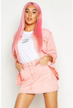 Womens Peach Acid Wash Denim Mini Skirt